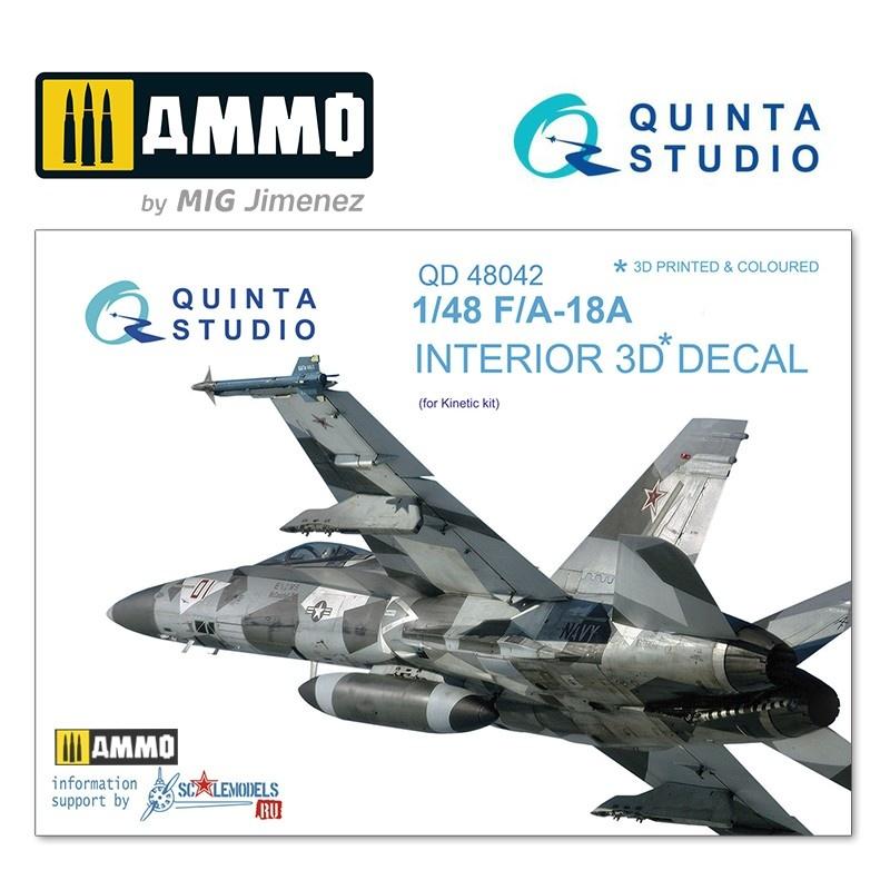 Quinta Studio F/A-18A 3D-Printed & coloured Interior on decal paper - Scale 1/48 - Quinta Studio - QD48042