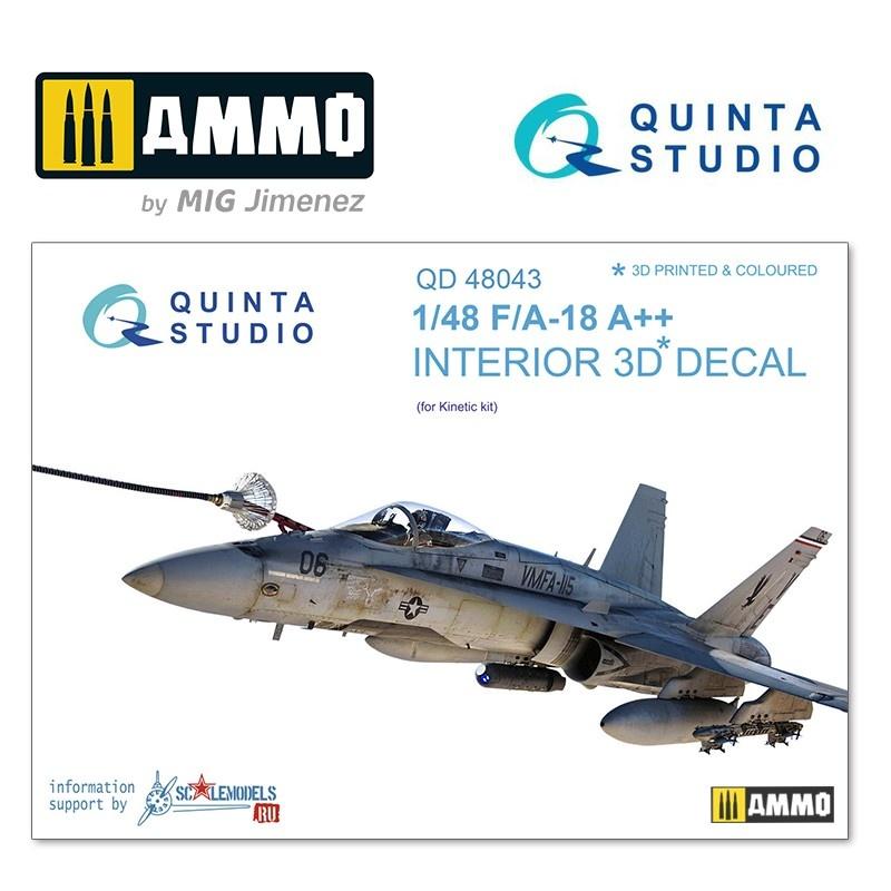 Quinta Studio F/A-18A++ 3D-Printed & coloured Interior on decal paper - Scale 1/48 - Quinta Studio - QD48043