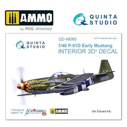 P-51D (Early) 3D-Printed & coloured Interior on decal paper - Scale 1/48 - Quinta Studio - QD48065