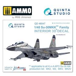 Su-30MKK 3D-Printed & coloured Interior on decal paper - Scale 1/48 - Quinta Studio - QD48047