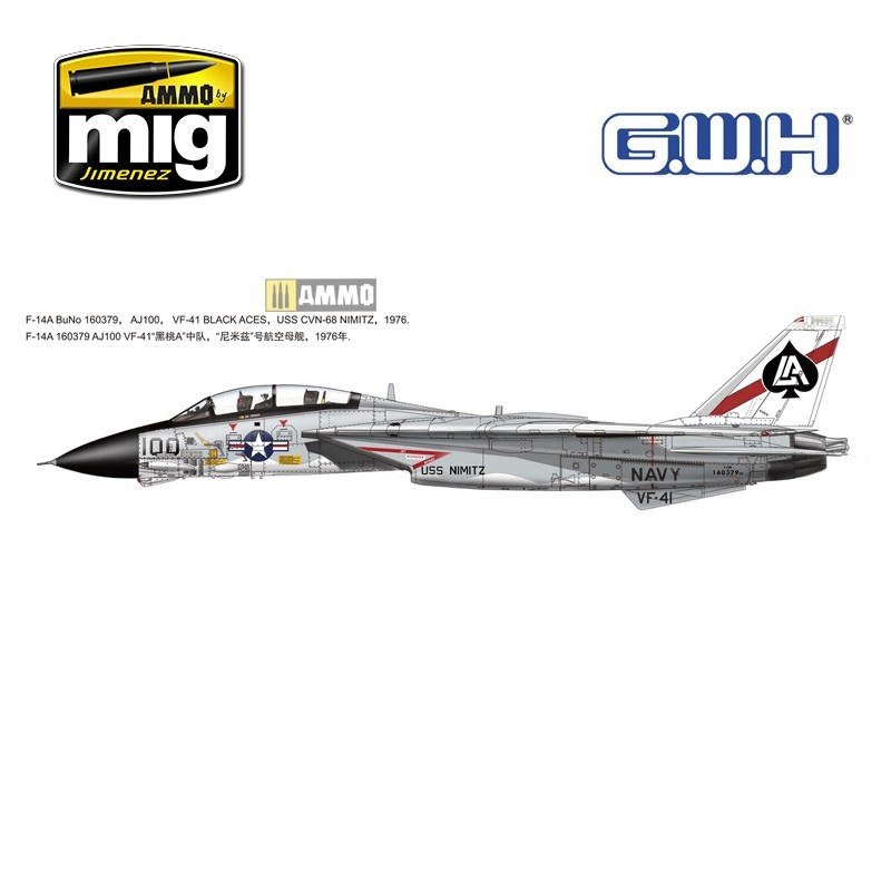 """Great Wall Hobby F-14A US Navy """"Tomcat"""" - Scale 1/72 - Great Wall Hobby - GWH07206"""