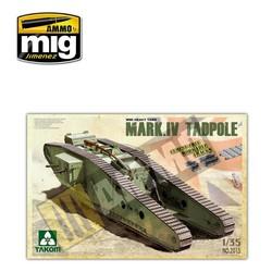 WWI Heavy Battle Tank Mark IV Male Tadpole w/Rear mortar - Scale 1/35 - Takom -TAKO2015