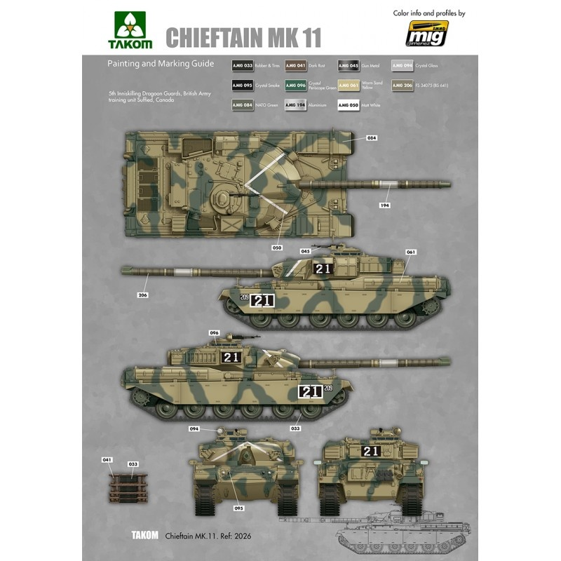 Takom British Main Battle Tank Chieftain Mk.11 - Scale 1/35 - Takom -TAKO2026