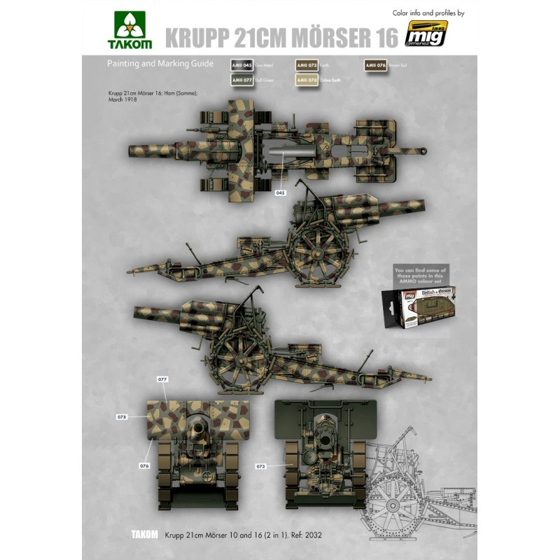 Takom Krupp 21 cm Mörser 10/16 2in1 - Scale 1/35 - Takom -TAKO2032