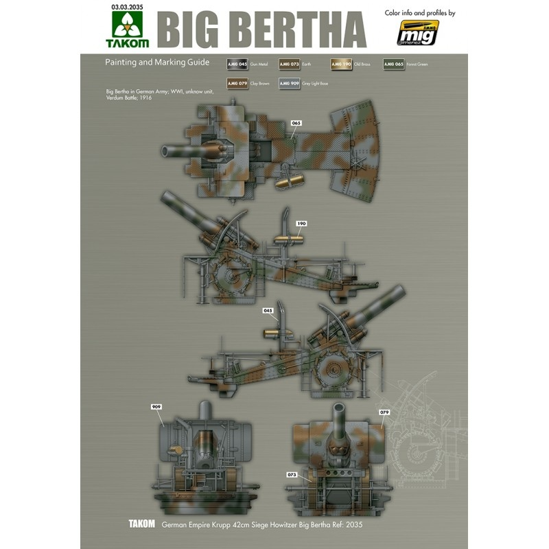 Takom German Empire 420mm Big Bertha Siege Howitzer - Scale 1/35 - Takom -TAKO2035
