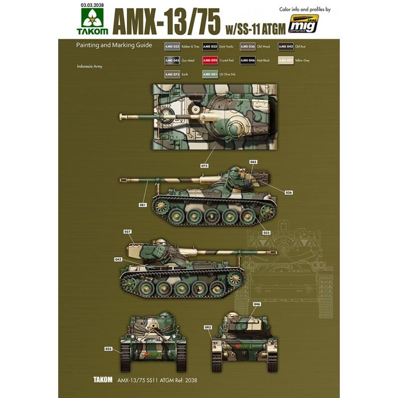 Takom French Light Tank AMX-13/75 with SS-11 ATGM 2 in 1  - Scale 1/35 - Takom -TAKO2038