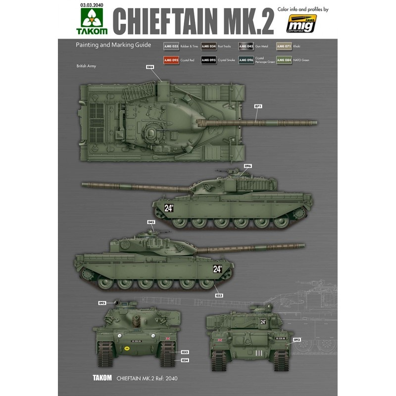Takom British Main Battle Tank Chieftain Mk.2 - Scale 1/35 - Takom -TAKO2040