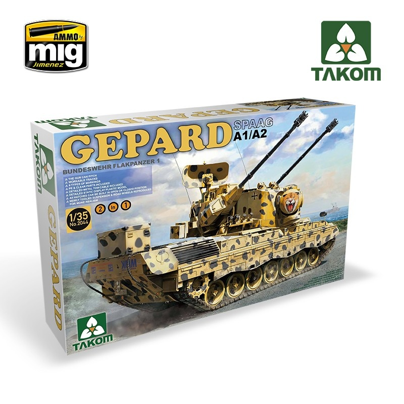 Takom  Bundeswehr Flackpanzer1 Gepard SPAAG A1/A2 2 in 1 - Scale 1/35 - Takom -TAKO2044