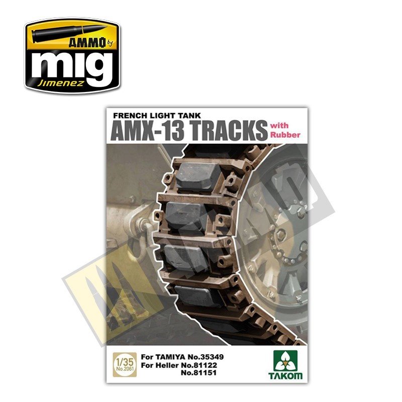 Takom French Light Tank AMX-13 Tracks with Rubber  - Scale 1/35 - Takom -TAKO2061