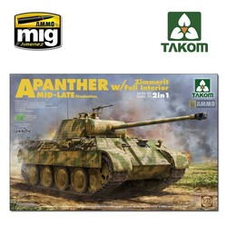 WWII Sd.Kfz.171/267 Panther A Mid/late production w/ Zimmerit/ full interior kit 2 in 1 - Scale 1/35 - Takom -TAKO2100