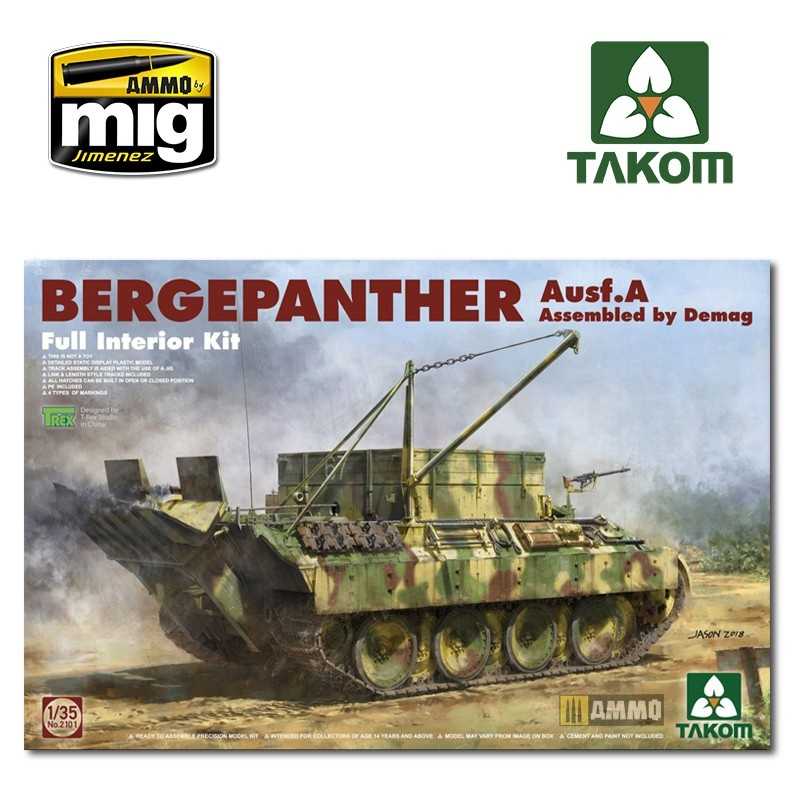 Takom Bergepanther Ausf.A Assembled by Demag production w/ full interior kit - Scale 1/35 - Takom -TAKO2101