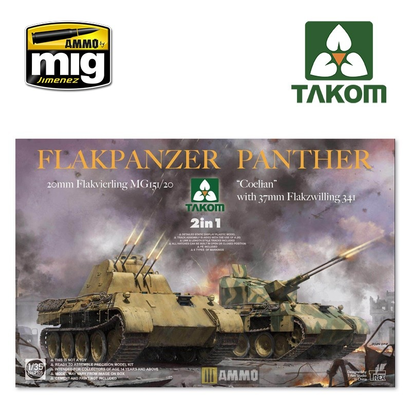 "Takom Flakpanzer Panther ""Coelian"" with 37mm Flakzwilling 341 & 20mm flakvierling mg151/20 2 in 1 - Scale 1/35 - Takom -TAKO2105"
