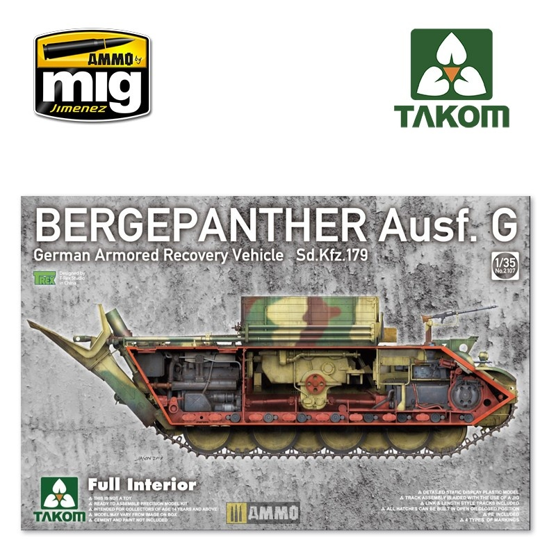 Takom Bergepanther Ausf.G German Armored Recovery Vehicle Sd.Kfz.179 w/ full interior kit - Scale 1/35 - Takom -TAKO2107