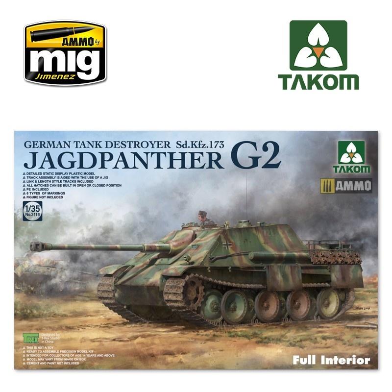 Takom Jagdpanther G2 German Tank Destroyer Sd.Kfz.173 w/ full interior kit - Scale 1/35 - Takom -TAKO2118