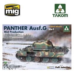 WWII German medium Tank  Panther Ausf.G Mid production w/ Steel Wheels 2 in 1 - Scale 1/35 - Takom -TAKO2120