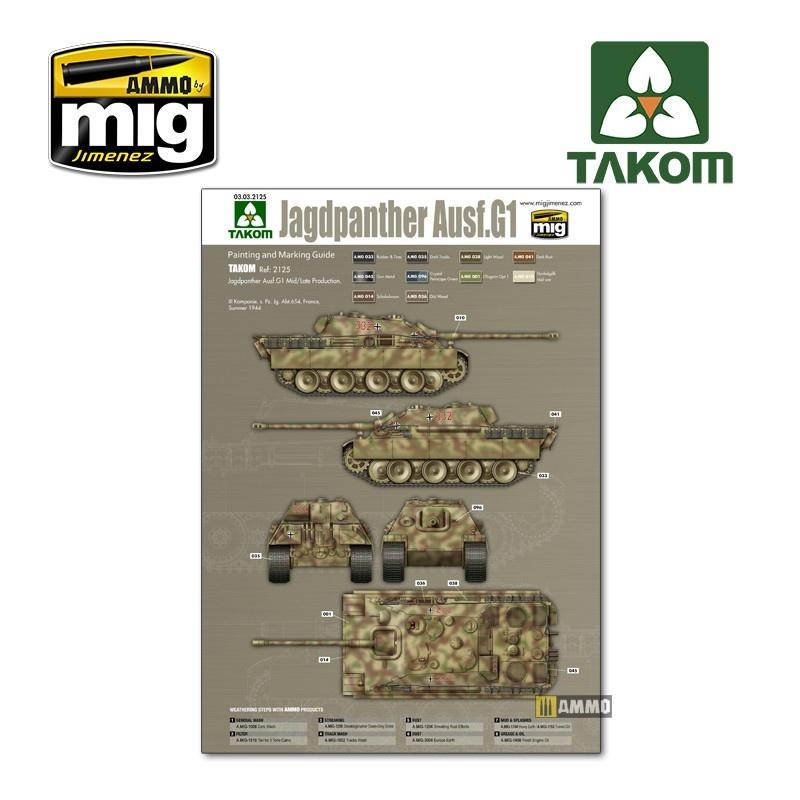 Takom Jagdpanther G1 early German Tank Destroyer Sd.Kfz.173 w/ Zimmerit / full interior kit - Scale 1/35 - Takom -TAKO2125