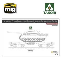 Jagdpanther G1 early w/ Zimmerit & Schwerer Plattformwagen Type SSys (interior not included) - Scale 1/35 - Takom -TAKO2125X