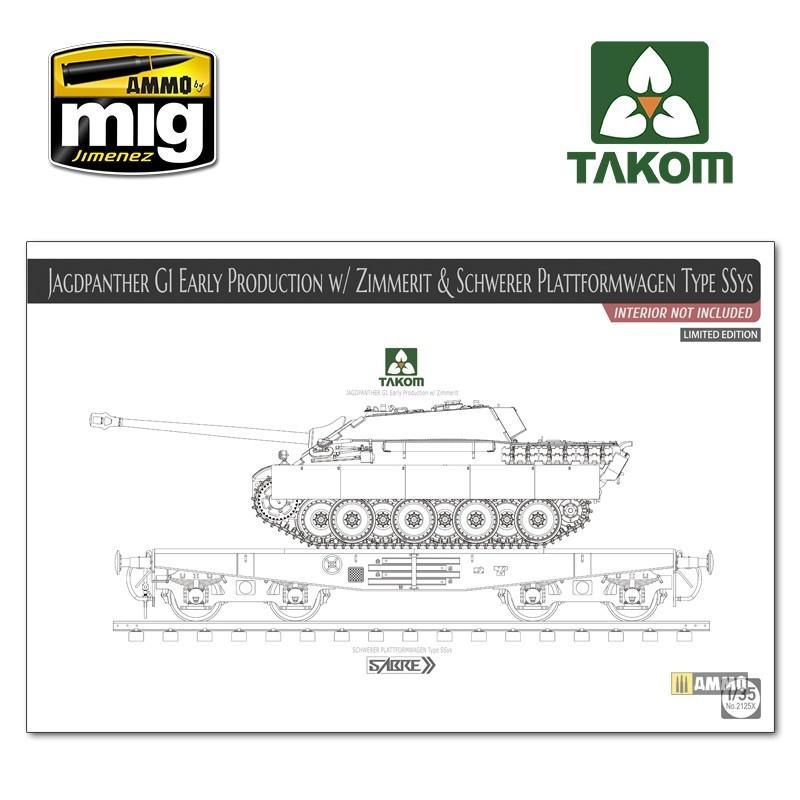 Takom Jagdpanther G1 early w/ Zimmerit & Schwerer Plattformwagen Type SSys (interior not included) - Scale 1/35 - Takom -TAKO2125X
