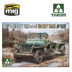 U.S. Army 1/4 ton utility truck with 1/4 ton utility trailer & MP figure - Scale 1/35 - Takom -TAKO2126