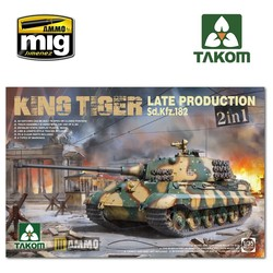 WWII German Heavy Tank Sd.Kfz.182 King Tiger Late Production 2 in 1 (without interior) - Scale 1/35 - Takom -TAKO2130