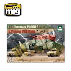 WWII Heavy Tank Landkreuzer P1000 Ratte & Panzer VIII Maus 3 in 1 - Scale 1/144 - Takom -TAKO3001