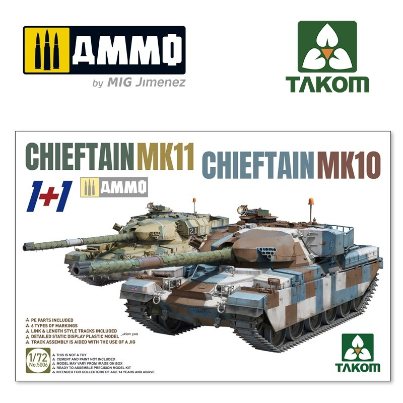 Takom Chieftain MK11+Chieftain MK10 (1+1) - Scale 1/72 - Takom -TAKO5006