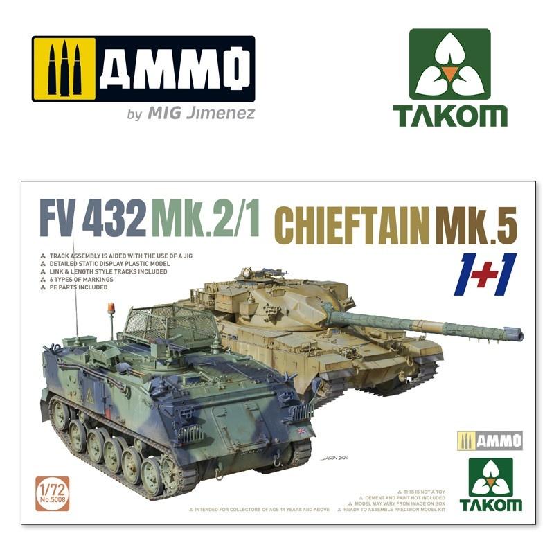 Takom FV 432 MK.2/1 + Chiefain MK.5 (1+1) - Scale 1/72 - Takom -TAKO5008