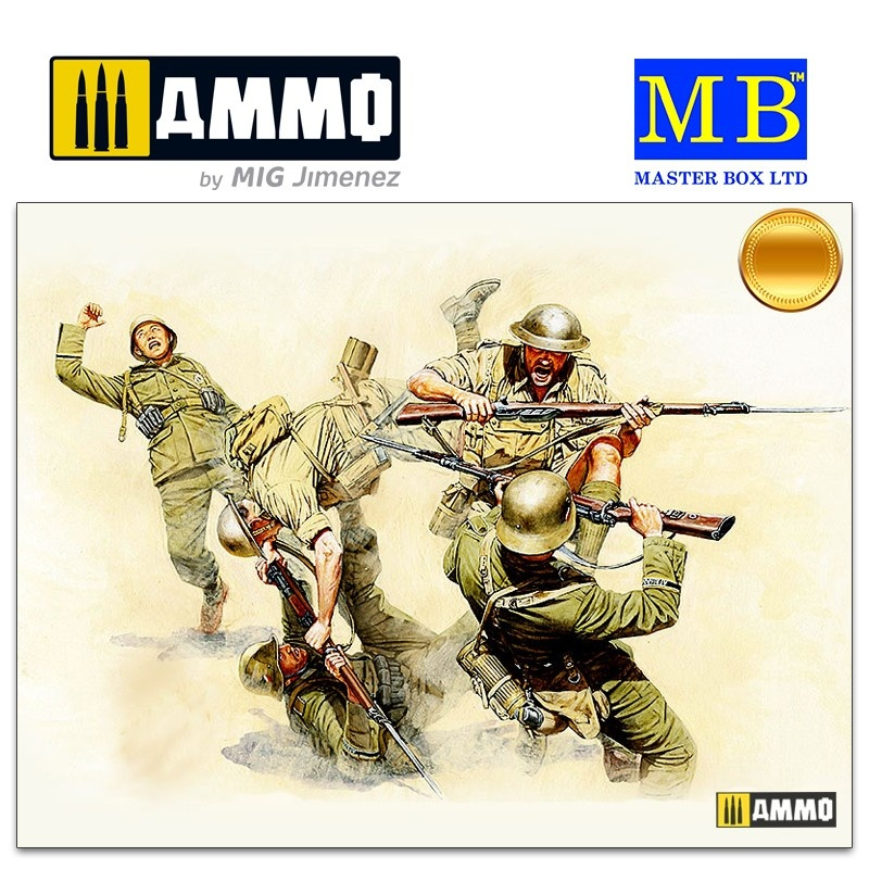 Master Box Ltd Hand-to-hand fight, British and German Infantry. Battles in Northern Africa. Kit 1 - Scale 1/35 - Masterbox Ltd - MBLTD3592