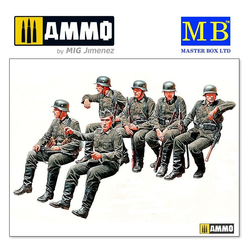 Master Box Ltd German Infantry Off to the front Vehicle riders, WW II Era - Scale 1/35 - Masterbox Ltd - MBLTD35137