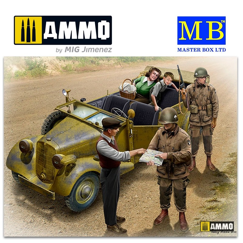 Master Box Ltd Hitch on the road. US Paratroopers and Civilians - Scale 1/35 - Masterbox Ltd - MBLTD35161