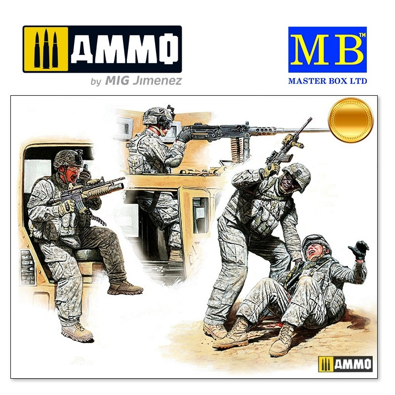 Master Box Ltd Man Down! US Modern Army, Middle East, Present day - Scale 1/35 - Masterbox Ltd - MBLTD35170
