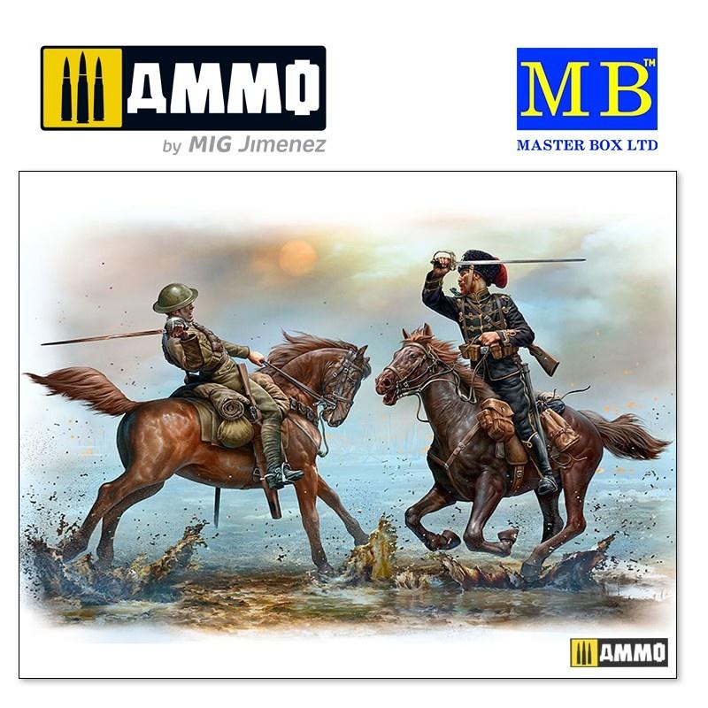 Master Box Ltd British and German Cavalrymen, WWI era - Scale 1/35 - Masterbox Ltd - MBLTD35184