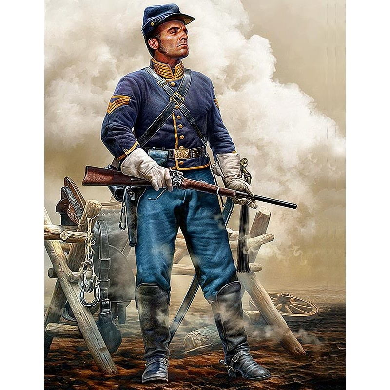 Master Box Ltd At the Ready. Brigadier General Bufford's Union Cavalry, Company Quartermaster Sergeant, Army of the Potomac, Gettysburg (Williamsport, Maryland), July, 1863 - Scale 1/35 - Masterbox Ltd - MBLTD35197