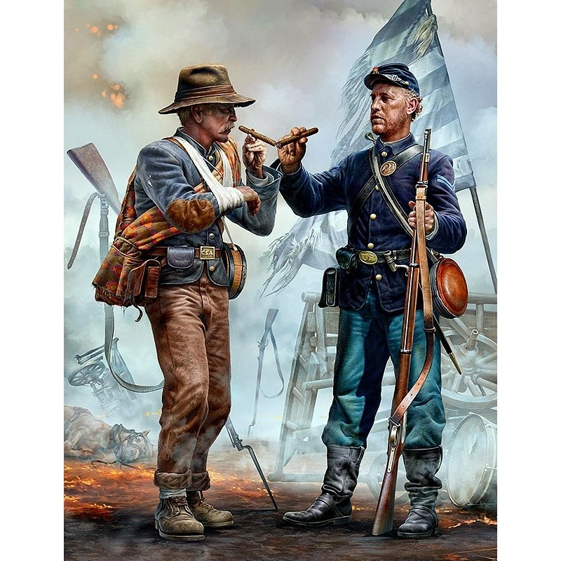 Master Box Ltd Family reunited - brothers Meet Again. End of the War - Confederate army surrenders to federal Troops. Appomatox, Virginia, April 9th, 1865 - Scale 1/35 - Masterbox Ltd - MBLTD35198