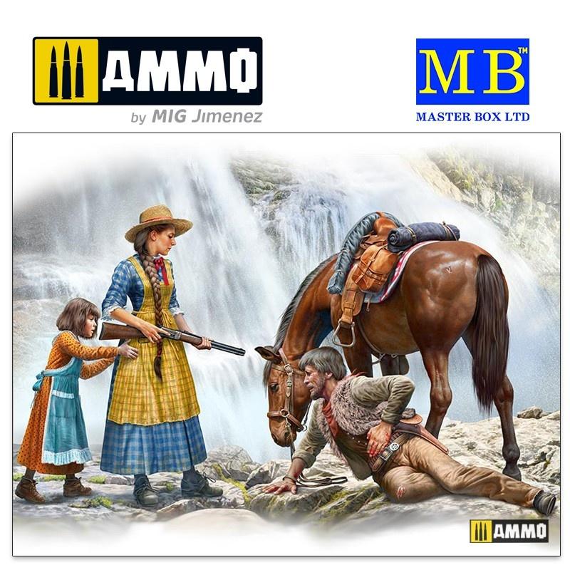 Master Box Ltd Gunslinger series. Kit No. 1. Marshal Tom Tucker, Molly and Rebecca Hanson - Scale 1/35 - Masterbox Ltd - MBLTD35203