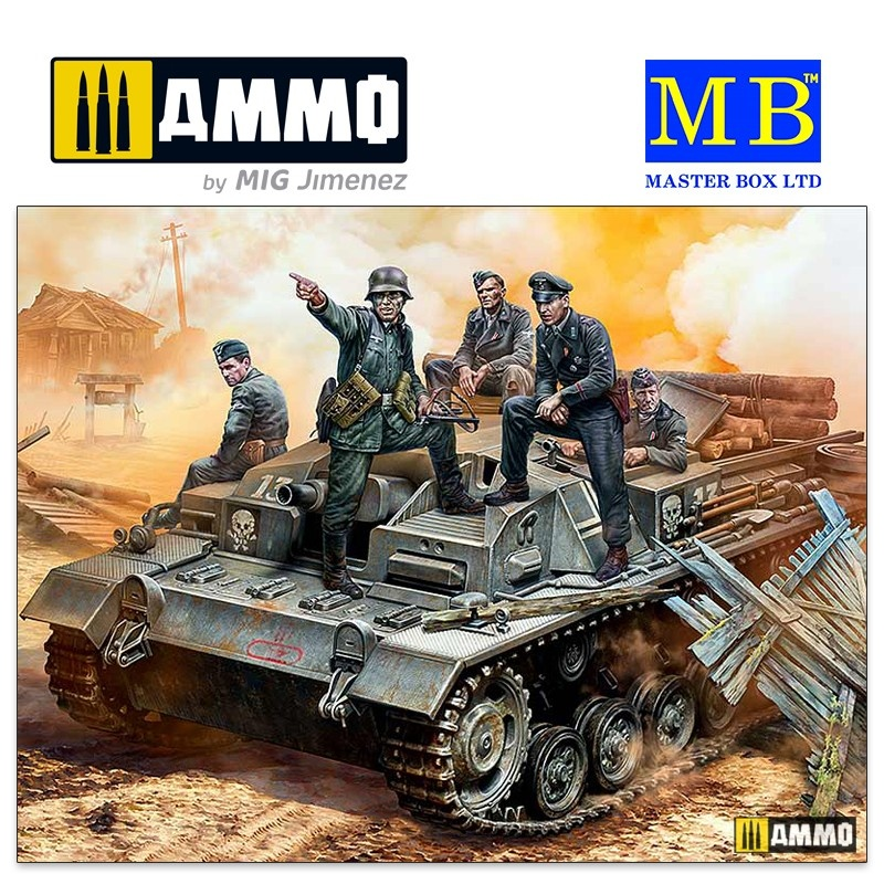 "Master Box Ltd German StuG III Crew, WW II era. ""Their position is behind that forest! - Scale 1/35 - Masterbox Ltd - MBLTD35208"