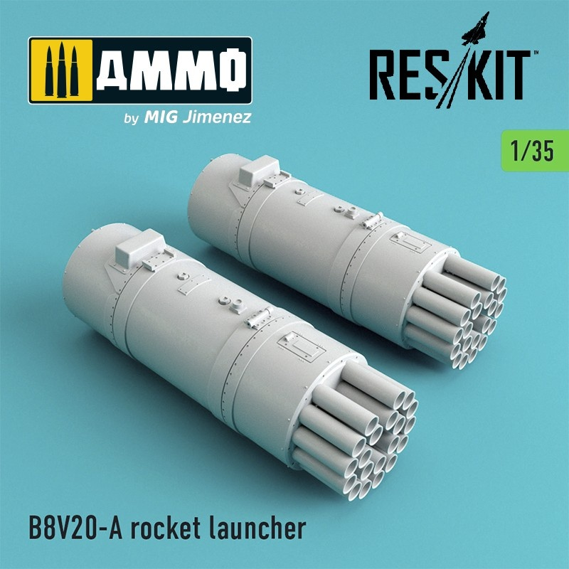 Reskit B8V20-А rocket launcher (2 pcs) (Mi-24, Mi-8,Toyota Hilux, BTR-70, URAL) - Scale 1/35 - Reskit - RS35-0003