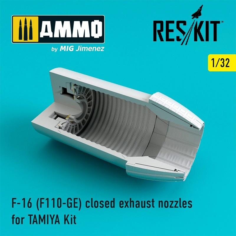Reskit F-16 (F110-GE) closed exhaust nozzles for TAMIYA Kit - Scale 1/32 - Reskit - RSU32-0034
