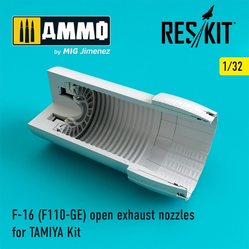 Reskit F-16 (F110-GE) open exhaust nozzles for TAMIYA Kit - Scale 1/32 - Reskit - RSU32-0033