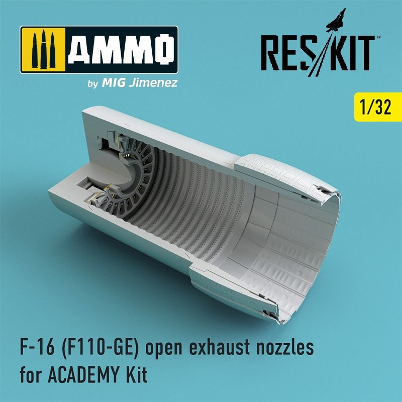 Reskit F-16 (F110-GE) open exhaust nozzles for ACADEMY Kit - Scale 1/32 - Reskit - RSU32-0031