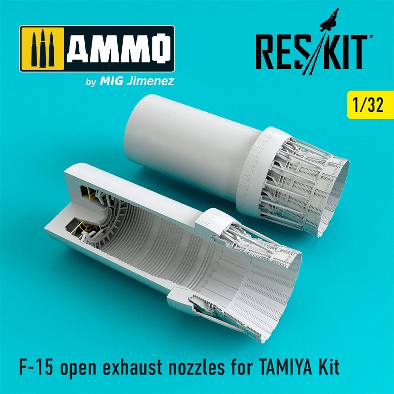 Reskit F-15 open exhaust nozzles for TAMIYA Kit - Scale 1/32 - Reskit - RSU32-0029