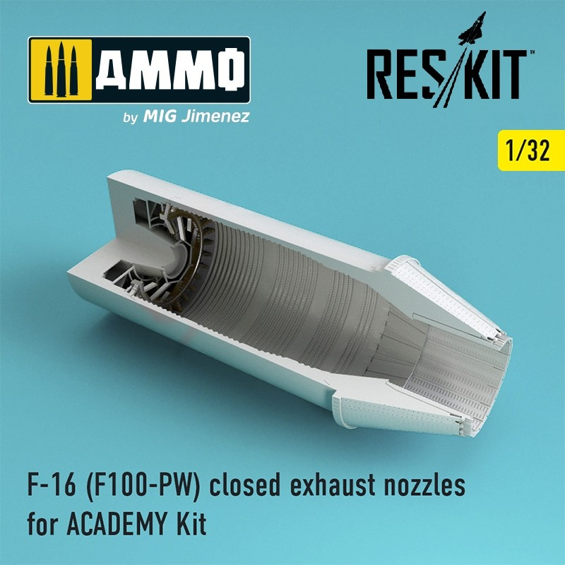 Reskit F-16 (F100-PW) closed exhaust nozzles for ACADEMY Kit - Scale 1/32 - Reskit - RSU32-0028