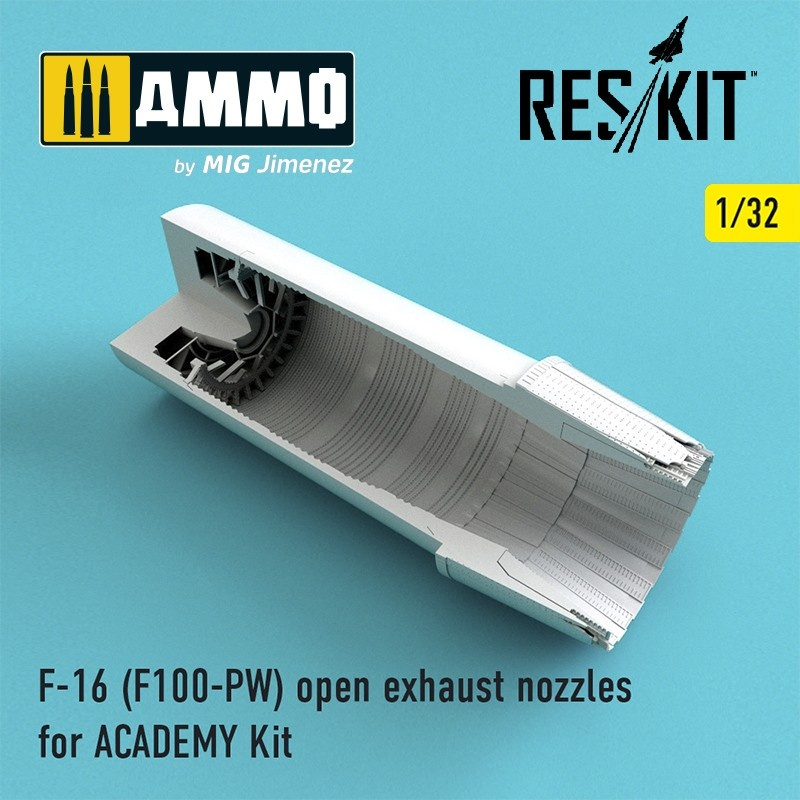 Reskit F-16 (F100-PW) open exhaust nozzles for ACADEMY Kit - Scale 1/32 - Reskit - RSU32-0027