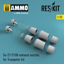 Su-27/27UB exhaust nozzles for Trumpeter Kit - Scale 1/32 - Reskit - RSU32-0024