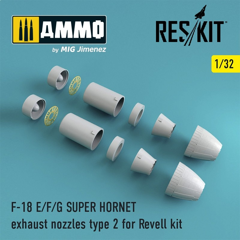Reskit F-18 SUPER HORNET Type 2 exhaust nozzles for Revell - Scale 1/32 - Reskit - RSU32-0003