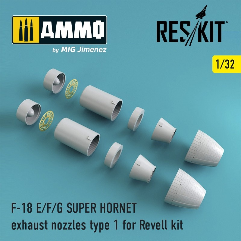 Reskit F-18 SUPER HORNET Type 1 exhaust nozzles for Revell - Scale 1/32 - Reskit - RSU32-0002