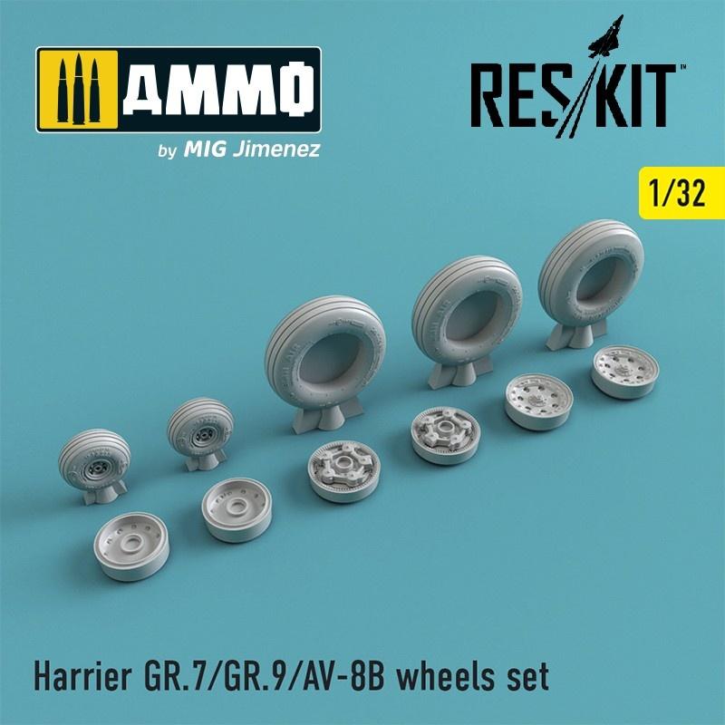 Reskit Harrier GR.7/GR.9/AV-8B wheels set - Scale 1/32 - Reskit - RS32-0212