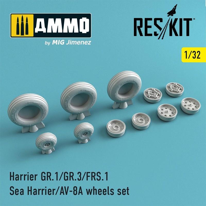 Reskit Harrier GR.1/GR.3/AV-8A/FRS.1/Sea Harrier wheels set - Scale 1/32 - Reskit - RS32-0211