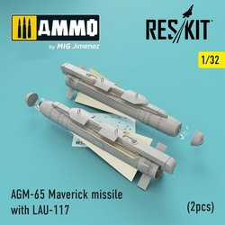 AGM-65 Maverick missile with LAU-117 (2pcs) (AV-8b, A-10, F-16, F-18) - Scale 1/32 - Reskit - RS32-0192