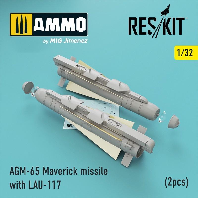 Reskit AGM-65 Maverick missile with LAU-117 (2pcs) (AV-8b, A-10, F-16, F-18) - Scale 1/32 - Reskit - RS32-0192